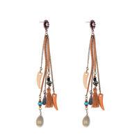 Women Shell Horns Sunflower Fringe Dangle Long Tassel Ear Drop Earrings Jewelry