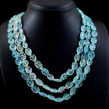 475.00 Cts Natural 3 Line Blue Aquamarine Oval Carved Beads Necklace NK 45E113