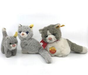 Steiff Snuffy Kitty Cat Trio Grey White Plush 10 12 16cm ID Buttons 1970s 80s