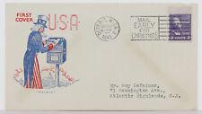 1943 UNCLE SAM First Cover U.S.A. Machine Slogan Cancel 3c Jefferson #807 Pavois