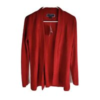Karen Scott Long Sleeve Open Cardigan Womens Petites Size PS Red Color
