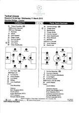 Teamsheet - Chelsea v PSG 2014/15 (11 Mar) UEFA Champions League