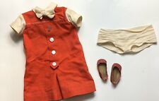 Vintage Doll Dress From 1960s Era Red Button Closure Panties Hong Kong Shoes