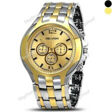ORLANDO Fashion Luxury Sub-dials Men Quartz Golden Silver Stainless Steel Watch