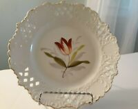 Vintage Gesetzlich Reticulated Hand Painted Porcelain Decorative Plate White