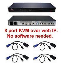Avocent DSR1021 8 port KVM over IP Switch TESTED +4 DSRIQ-USB USB Cabels Modules
