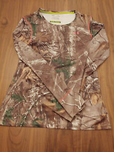 Women's Under Armour Scent Control Heat Gear Hunting Camo REALTREE Size L Shirt