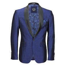 Mens Vintage Floral Damask Tuxedo Suit Dinner Jacket Wedding Party Formal Blazer Chest UK 52 EU 62 Blue