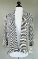 ALBERTO MAKALI $299 NWT NEW Black White Stripe Tweed 3/4 Sleeve Jacket Size XL