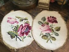 Vintage Pair Of Wool Needlepoint Oval Covers For Seats~Pillows with Pink Roses