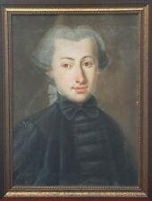 18th Century Portrait of a Young Handsome Man Antique Pastel Painting