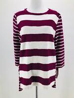 Merona Women's Burgundy & White Striped 3/4 Sleeve Blouse Size Medium NEW