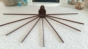 Primitive Antique Wood Wall Mount LONG ARMS CLOTHES DRYER DRYING RACK