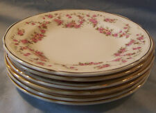"""6 Edwin M Knowles Lorraine Pink Floral Bread Plates 6"""""""