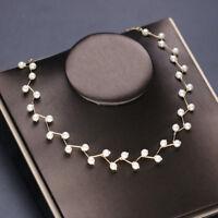 Elegant Style Pearl Crystal Necklace Women Bride Wedding Pendant Jewelry