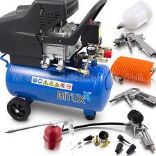 BITUXX® Druckluftkompressor 24L Kompressor mit 13 tlg Druckluft Zubehör Set