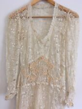Vintage Antique Original 1930s Lace Wedding Dress Bridal Ivory XS 6 -8 Victorian