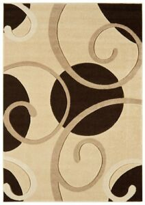 Couture Brown Beige Floral Petal Flower Design Traditional Living Room Rugs