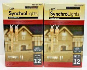 LightShow LED SynchroLights Classic White Icicle Synchronized Lights Gemmy