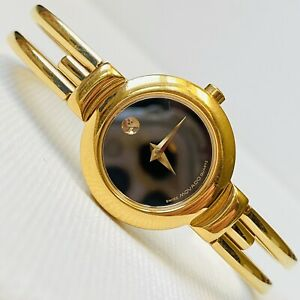 Movado 23mm Women's Gold Stainless Steel Watch Black Museum Dial 88.A1.809.A
