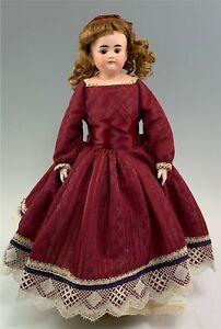 """Antique 16"""" German Bisque Head &Shoulder Doll Alt Beck & Gottschalk Leather Body"""
