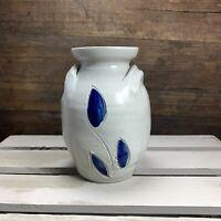 WILLIAMSBURG POTTERY Vase / Urn Salt Glazed Cobalt Blue Leaf Pattern