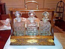 New listing Crystal Liquor (3) Decanters Holder Case (Tantalus)Vintage Victorian