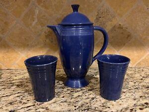 Fiesta Vintage Cobalt Coffee Pot with Lid & Tumblers