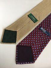 Lot of 2 Lauren & Polo by Ralph Lauren Neckties Hand Made Silk USA