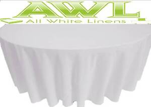 PLAIN WHITE ROUND TABLE CLOTHS, HOTEL QUALITY TO FIT 4FT, 5FT & 6FT ROUND TABLES