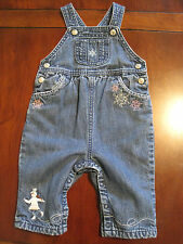 Gymboree Girl Ice Skater Snow Angels Lined Denim Blue Jean Overall 3-6 mon VGUC