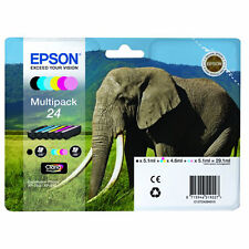 PACK 6 CARTOUCHE EPSON 24 NOIR MAGENTA CYAN JAUNE + PHOTO / elephant t2428 t24