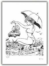 Affiche Milo MANARA Pin Up La Parapluie 200 ex signé 28,5x38 cm