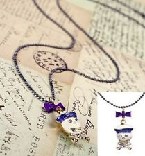 N390  BETSEY JOHNSON Exquisite Blue Sailor Skull Ring Halloween Necklace US