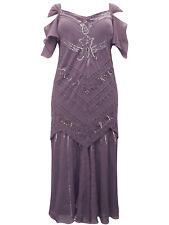 NEW Vintage Style MAROON PURPLE Bead & Sequin Chiffon Dress Plus Size 26 - 28