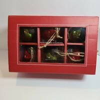 "Pottery Barn Set Of 6 Mercury Glass Christmas Ornaments Red Green Ball 3"""