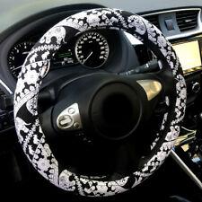 "Automotive Ethnic Elephant Anti Slip Car Steering Wheel Cover Black white 15"""