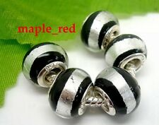 Fashion Round Foil Black European Style Lampwork Glass Beads fit Charm Bracelet