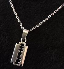 "Small Razor Blade Necklace Boho Rockabilly Pendant 18"" Chain Gothic Steampunk"