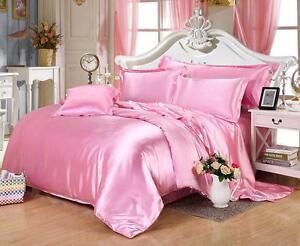 NEW LUXURY Pink Color 600-800-1000-1200 TC UK Super Soft Satin Silk Duvet/Sheet