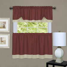 Darcy 3 pc tier & valance set kitchen curtain textured double layer burgundy
