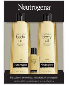 🔥 Neutrogena Body Oil Light Sesame Formula 16oz  Pack 2+1
