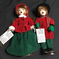 WMG 2003 Christmas Carolers Boy Girl 13.5 Inches Jingle Bells Porcelain Parts