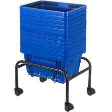 Blue Plastic Shopping Basket Pack of 12 Handled Baskets