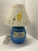 "Disney WINNIE THE POOH ""HUNNY"" POT Honey lamp with Original Shade 15"" tall light"