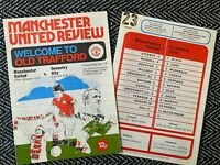 Manchester United v Coventry City 1977 Programme! FREE UK POSTAGE! LAST TWO!!!