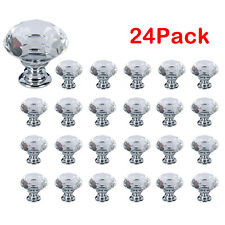 24Pcs Dresser Crystal Knobs Glass Diamond Shape Pull Handles for Home Office DIY