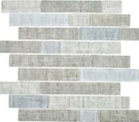 Mosaik Brick Verbund ECO Glasmosaik textilgrau Bad Wand Boden |24-2097 10Matten