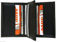 Black Genuine Leather Men's Thin Bifold Wallet 9 Credit Card Center Flap