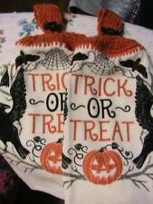 LOT OF 2 HALLOWEEN TRICK or TREAT RAVEN~SPIDER CROCHET KITCHEN~BATH HAND TOWELS